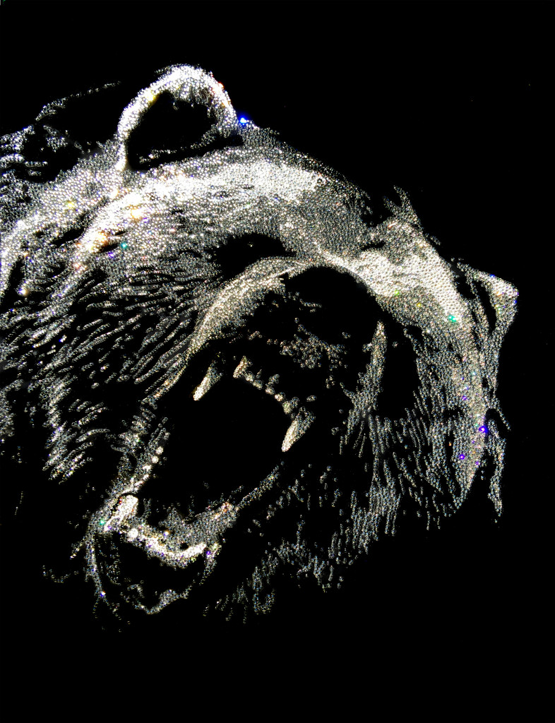 Angry Bear, 15200 Crystals from Swarovski® on plexiglas, 80x60 cm. 2016