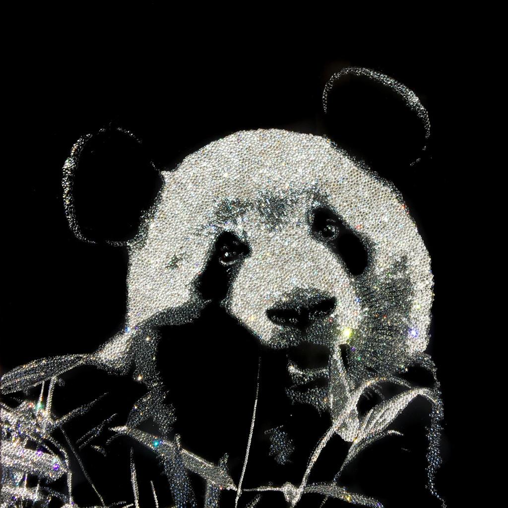 Cheerful Panda, 15600 Crystals from Swarovski®, 60x60 cm. 2016