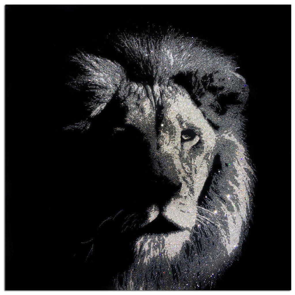 Shady Lion, 31600 Crystals from Swarovski® su plexiglas, 100x100 cm, 2016