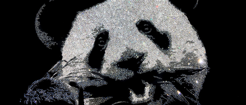 Little Panda,10200 Crystals from Swarovski® su plexiglas, 30x70 cm. 2016