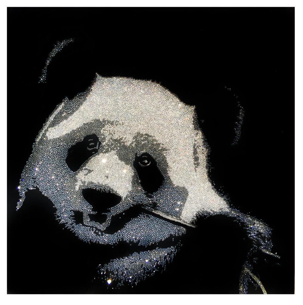 Sweet Panda, 22300 Crystals from Swarovski® su plexiglas, 70x70 cm, 2016