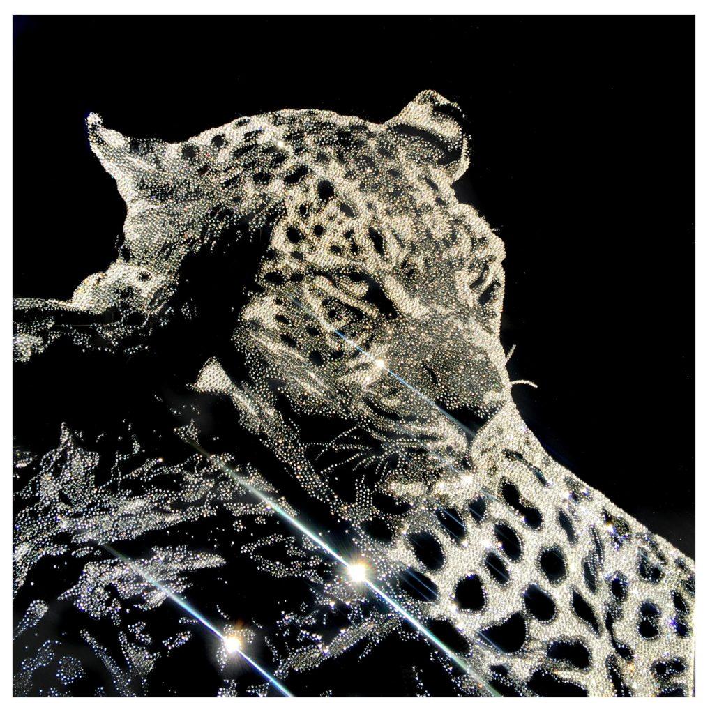 Thoughtful leopard 22800 Crystals from Swarovski® su plexiglass, 70x70 cm. 2017