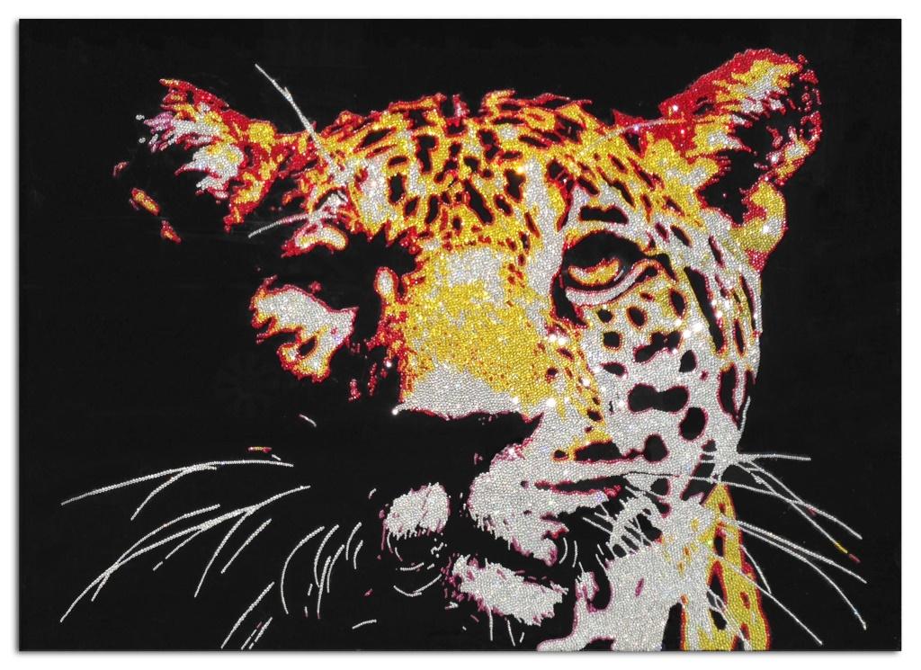 The Leopard, 34000 Crystals from Swarovski® suplexiglas, 80x110 cm. 2014