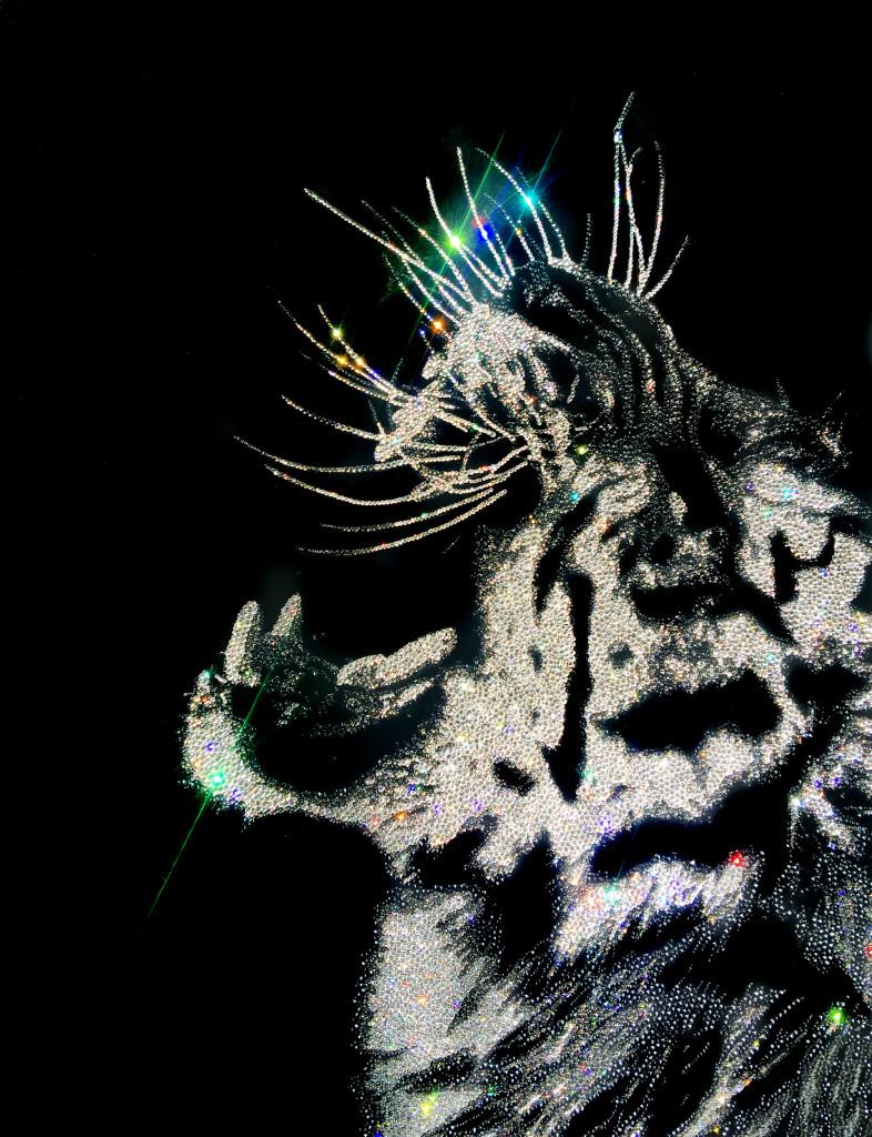 Angry Tiger2, 18300 Crystals from Swarovski® su plexiglas, 80x60 cm. 2016